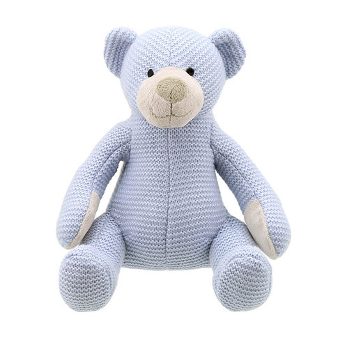 Blue Knitted Bear by Wilberry Toys