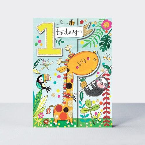 Age 1 Jungle Animals Birthday Card