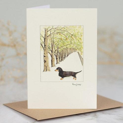 'Dachshund in Avenue' Card by Penny Lindop