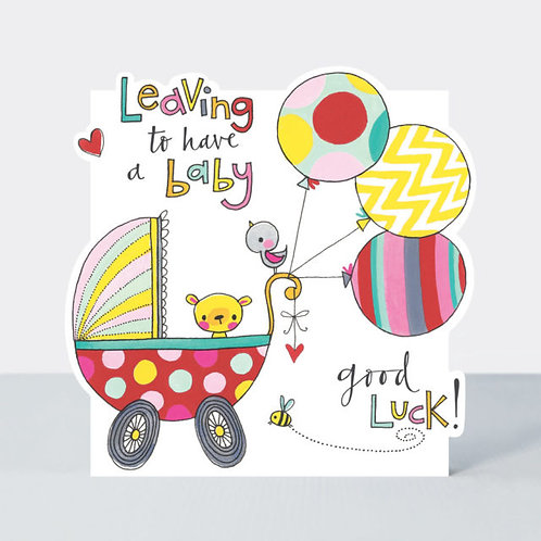 Pram & Balloons Leaving to Have a Baby Card