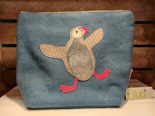 Fabric Puffin Large Makeup Bag - Blue