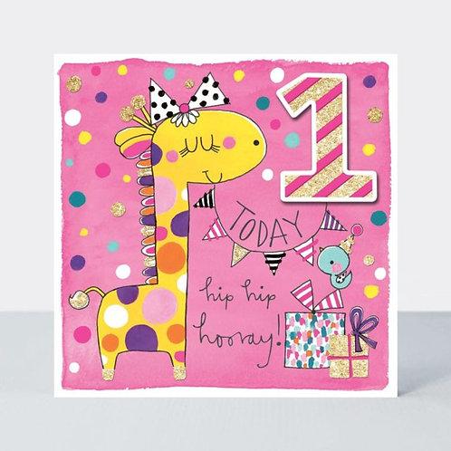 Age 1 Giraffe Birthday Card