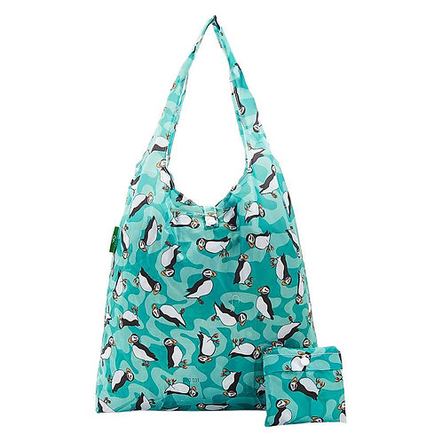 Puffins (Teal) Recycled Shopper by EcoChic