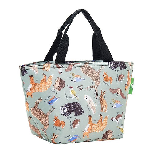 Woodland Animals (Blue) Recycled Lunch Bag by EcoChic