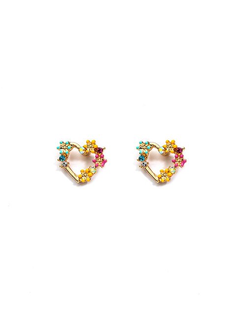 Gold Plated Flowers Heart Studs