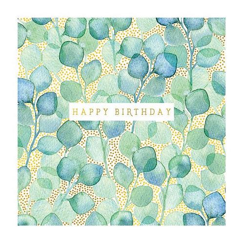 Natural Phenomenon 'Green & Blue Leaves' Birthday Card