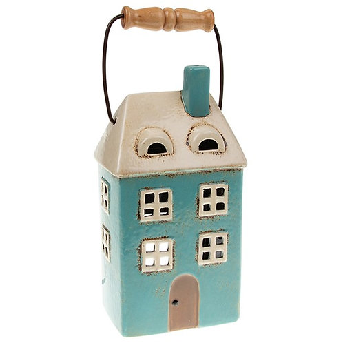Teal Lantern Tealight House by Village Pottery