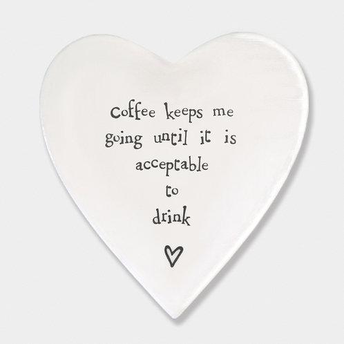 'Coffee Keeps me Going' Porcelain Heart Coaster