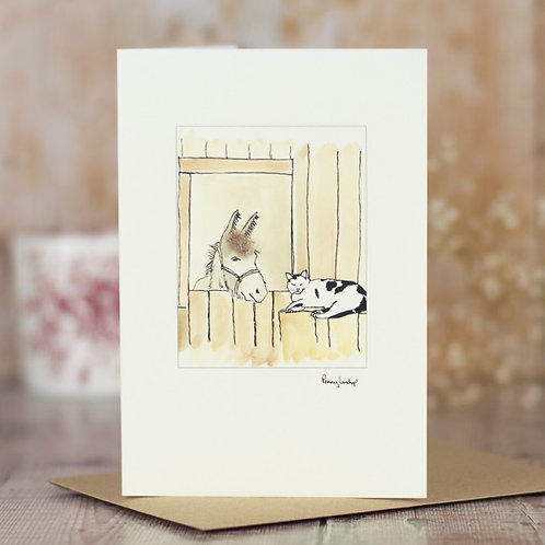 'Cat & Donkey' Card by Penny Lindop