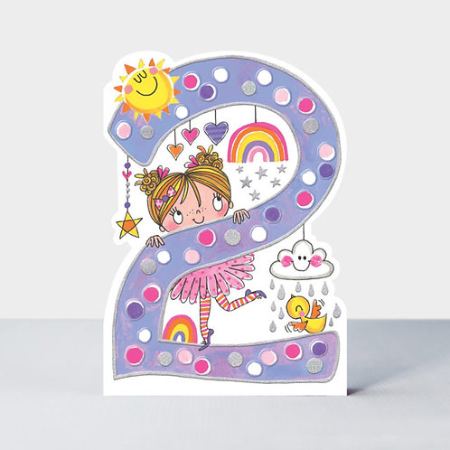 Age 2 Little Girl Birthday Card