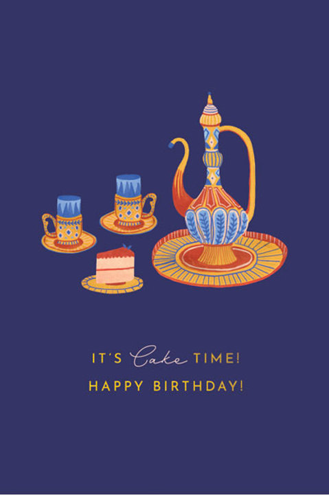 Tranquility 'Tea and Cake' Birthday Card