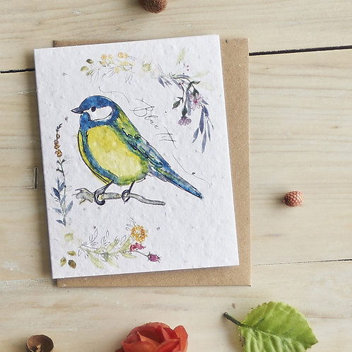 'Blue Tit' Seed Card by Hannah Marchant