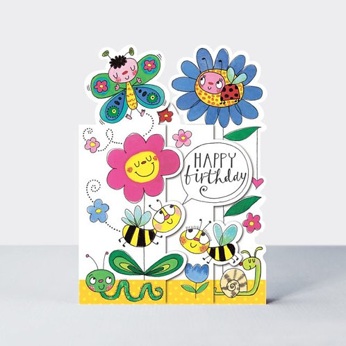 Three-Fold Flowers and Insects Birthday Card