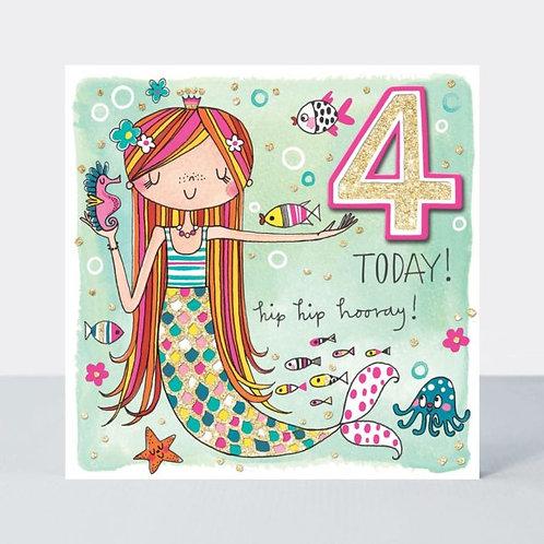 Age 4 Mermaid Birthday Card