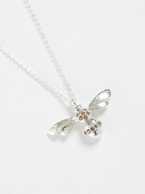 Silve Pave Bee Long Necklace by Fable