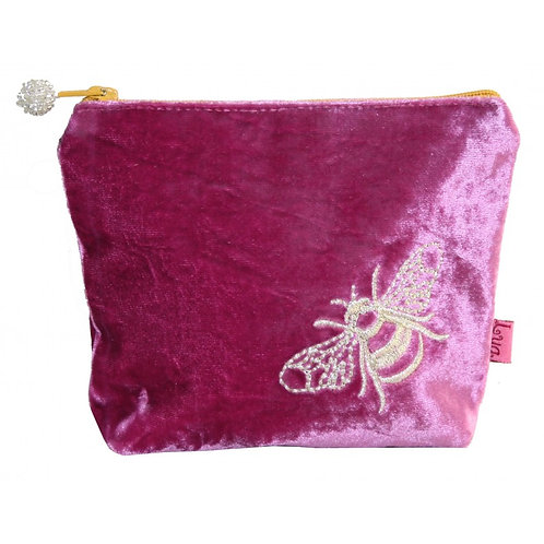 Embroidered Bee Large Purse - Pink