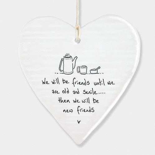 'Old and Senile' Porcelain Hanging Heart