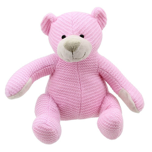 Pink Knitted Bear by Wilberry Toys