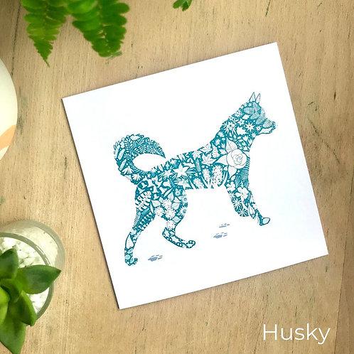 Floral Silhouette Husky Card