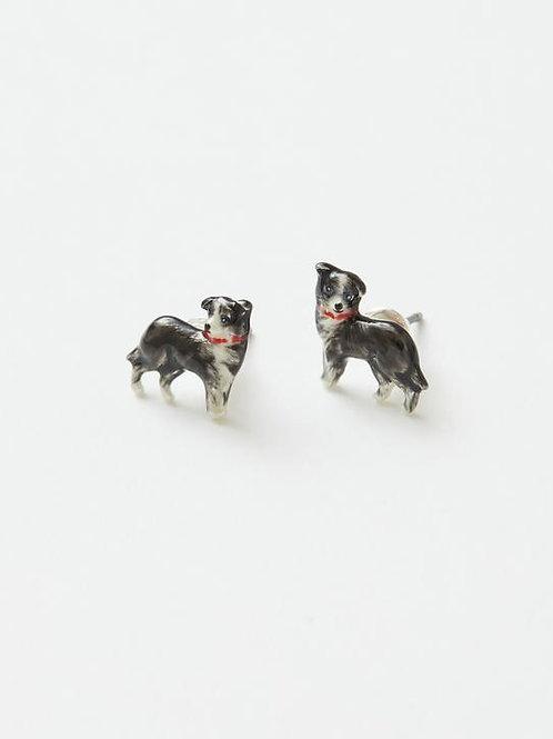 Enamel Dog Stud Earrings by Fable