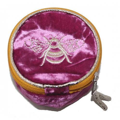 Velvet Embroidered Bee Jewellery Pouch - Pink
