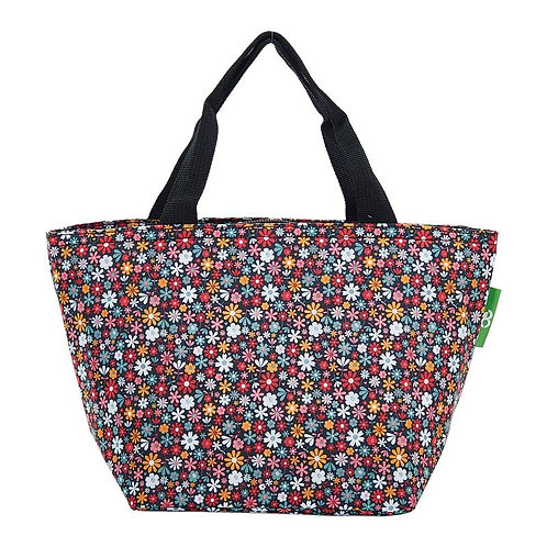 Ditsy Print (Black) Recycled Lunch Bag by EcoChic