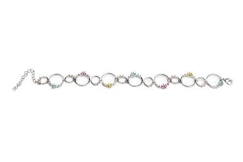 Rhodium Plated Flowers Circle Bracelet