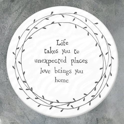 'Unexpected Places' Porcelain Round Coaster