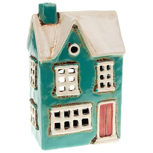 Teal Tealight House by Village Pottery