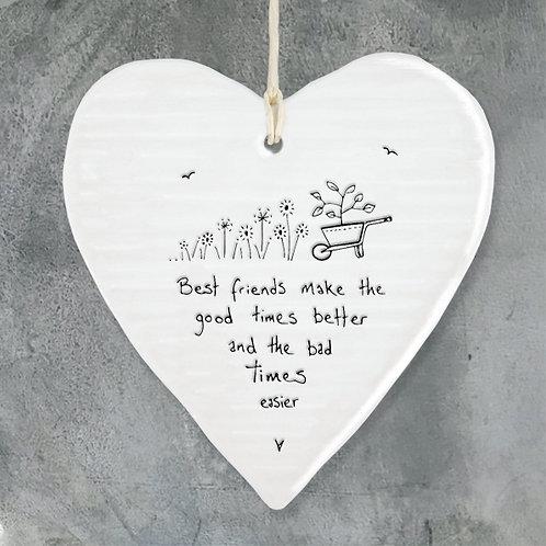 'Best Friends' Porcelain Hanging Heart