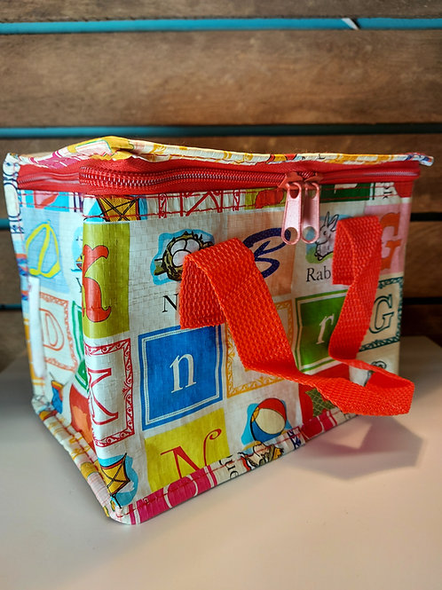 Alphabet Recycled Lunch Bag