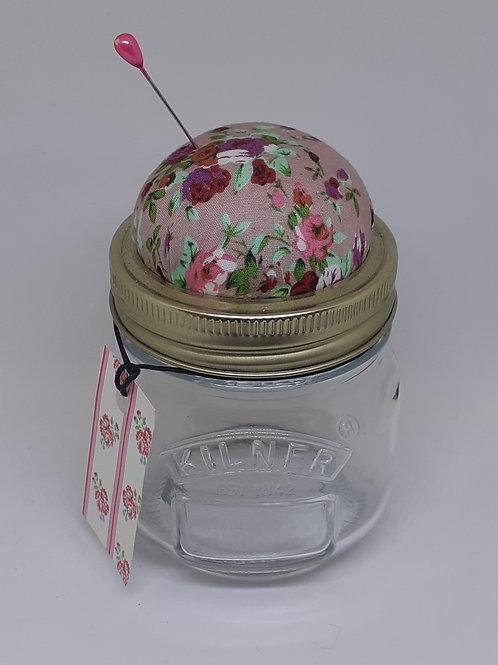 Glass Jar Pin Cushion Pink