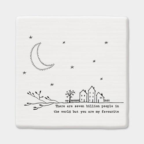 'Seven Billion People' Porcelain Square Twig Coaster