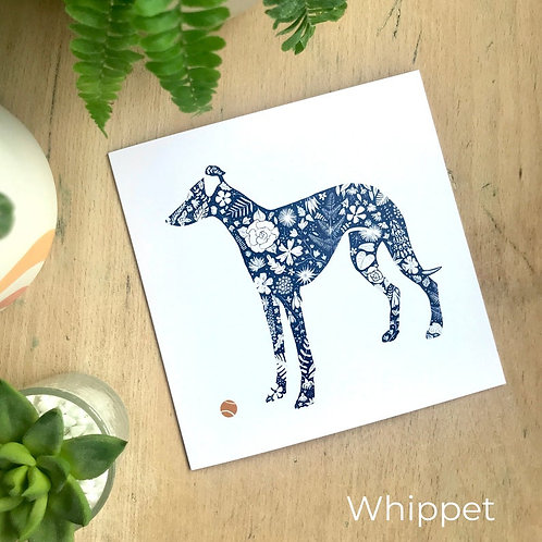 Floral Silhouette Whippet Card