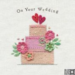 Fabric Design Cake Wedding Card
