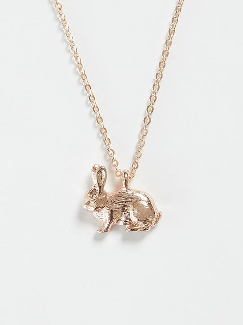Rose Gold Rabbit Short Necklace by Fable