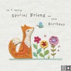 Special Friend Fox & Flowers Birthday Card