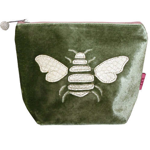 Velvet Bee Small Cosmetic Purse - Olive