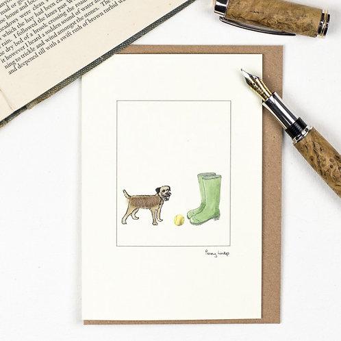 'Border Terrier & Wellies' Card by Penny Lindop