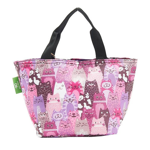 Cats (Purple) Recycled Lunch Bag by EcoChic