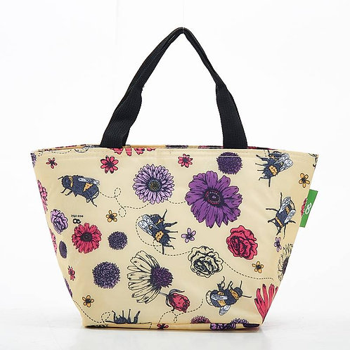 Bees & Flowers (Cream) Recycled Lunch Bag by EcoChic