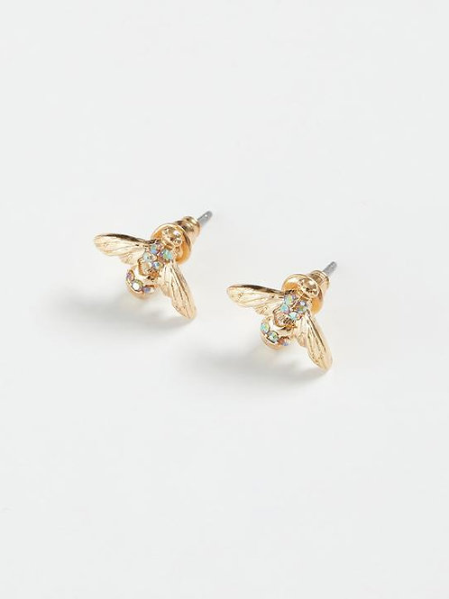 Gold Pave Bee Earrings by Fable