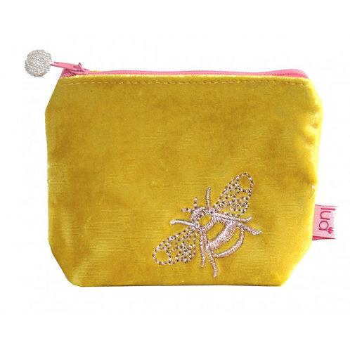 Embroidered Bee Mini Purse - Yellow