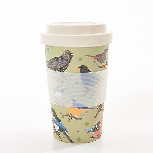 Garden Birds Bamboo Travel Mug by EcoChic