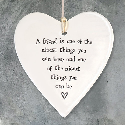 'A Friend is nice' Porcelain Hanging Heart