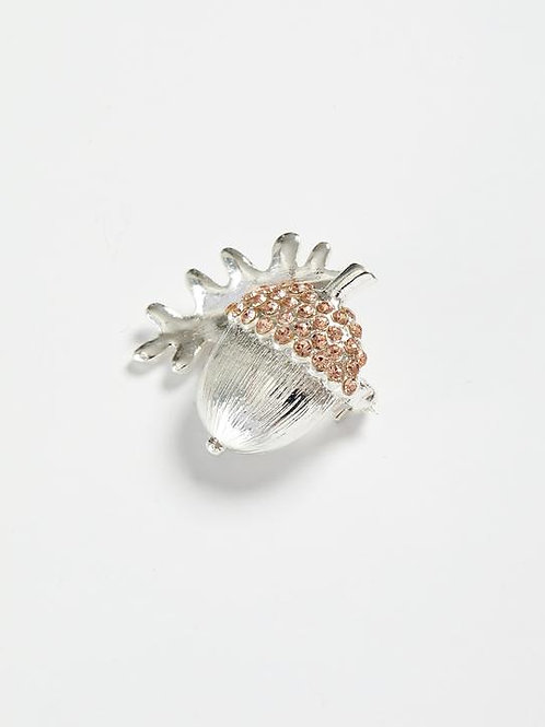 Silver Pave Acorn Brooch by Fable