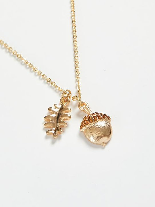Gold Pave Acorn Long Necklace by Fable