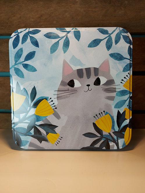 'Planet Cat' Large Cat & Flowers Tin