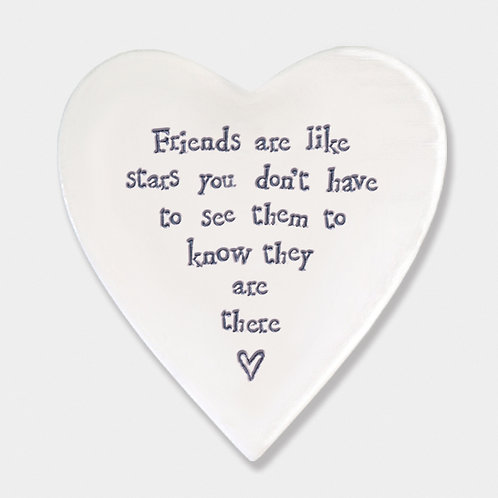 'Friends are Stars' Porcelain Heart Coaster
