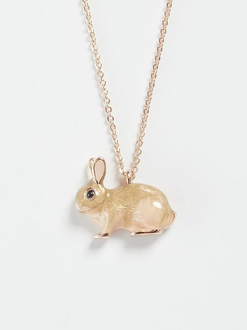 Enamel Rabbit Long Necklace by Fable